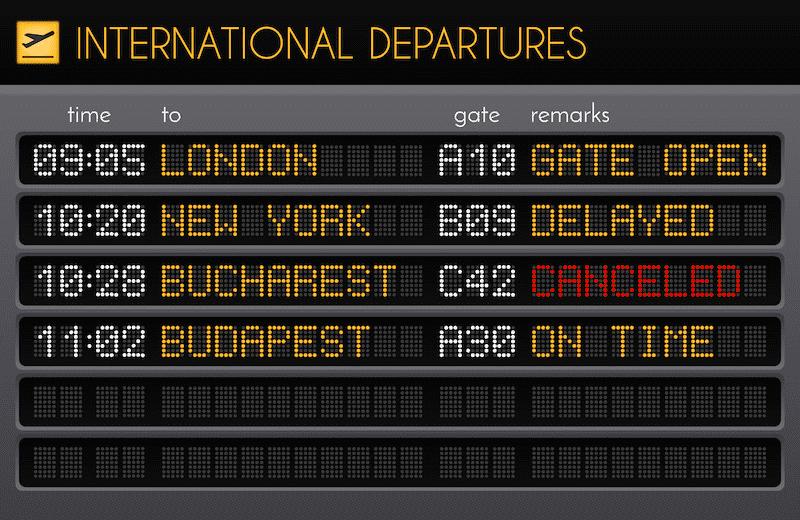 fret aerien international departure