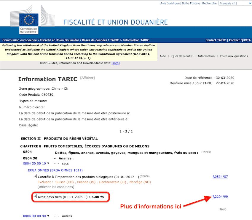 droits de douanes système TARIC europe