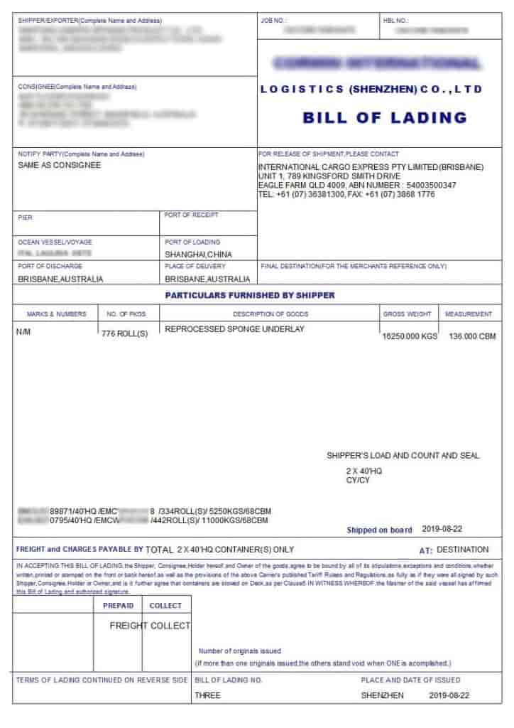 House Bill Of Lading