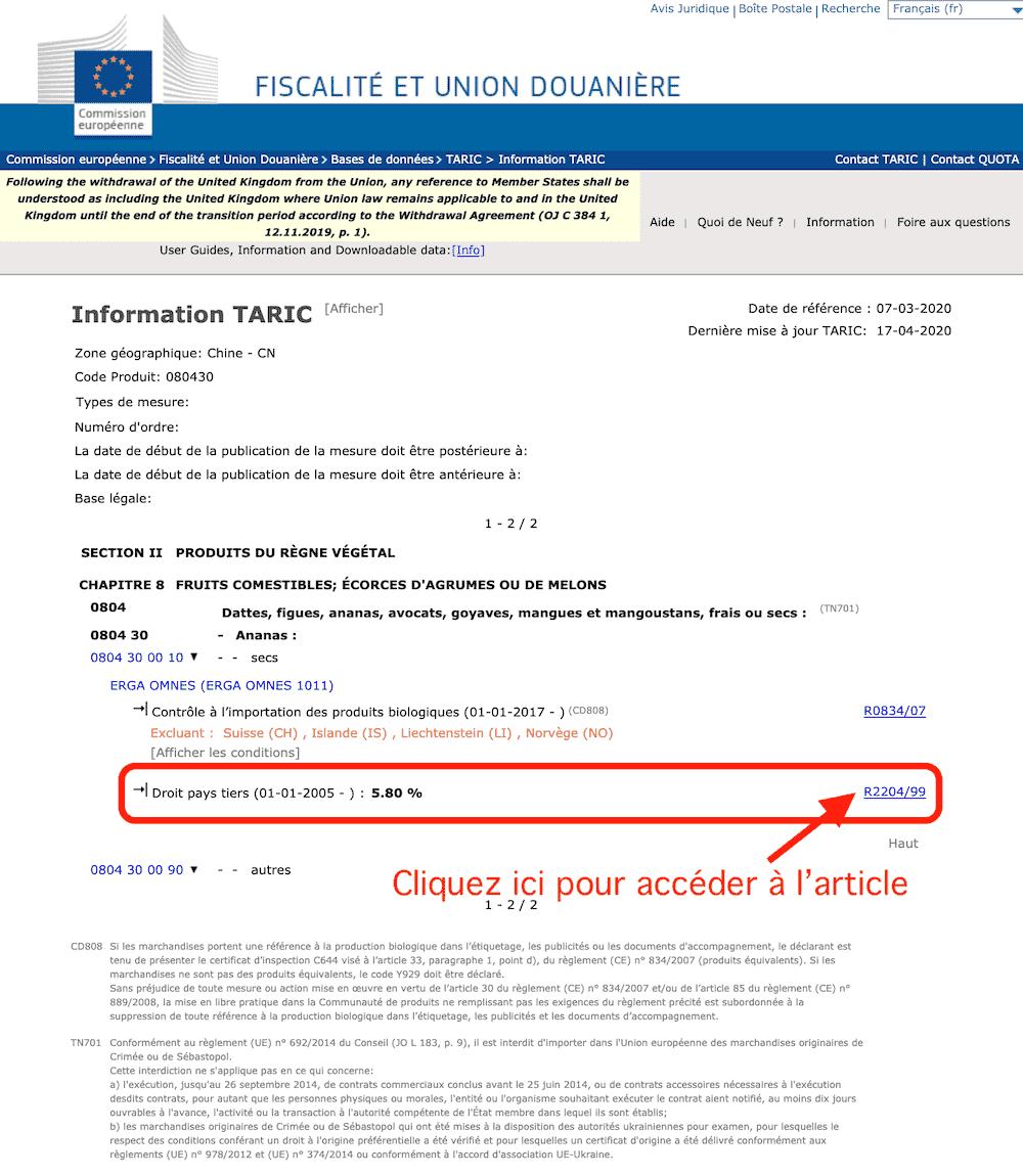 calculer droits douanes europe