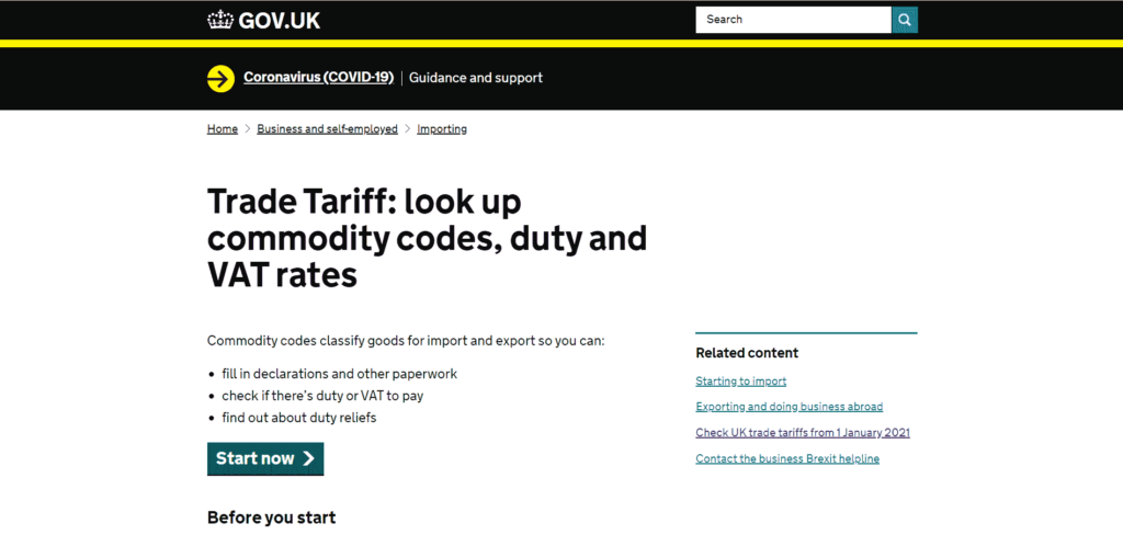 Tariff UK home page