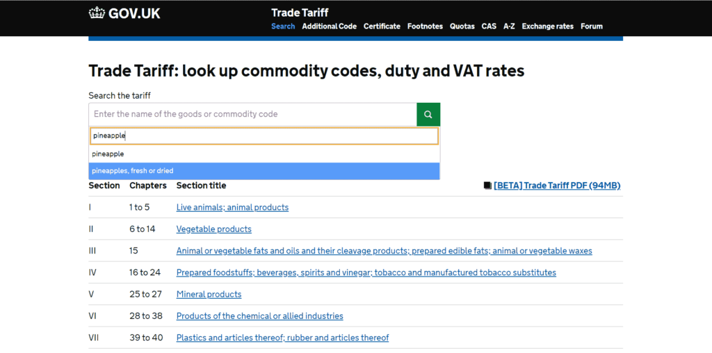 UK Tariff search