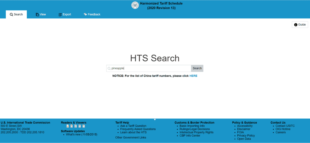 US HTS Search