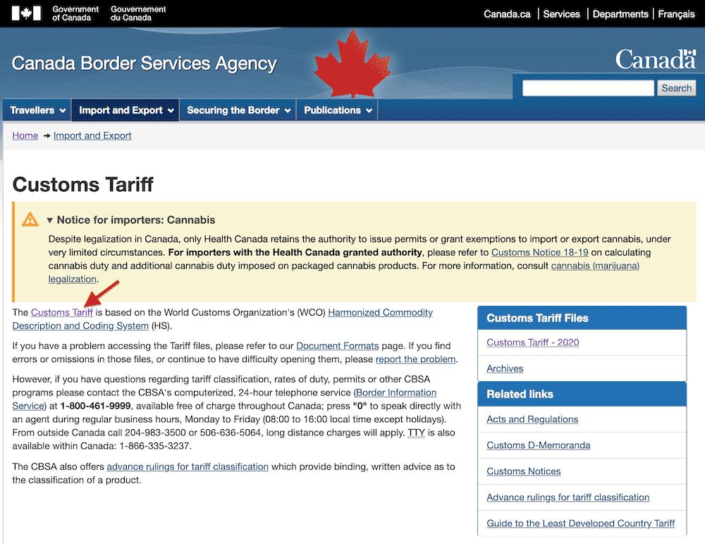droits de douanes canada