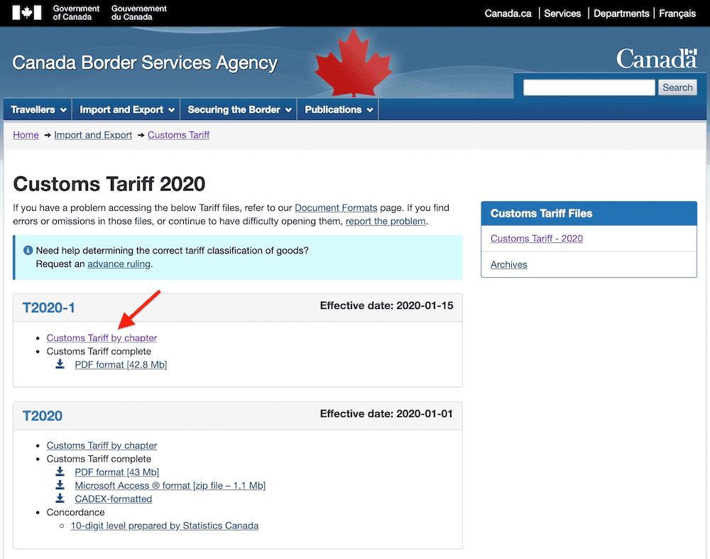 trouver tarif douanes canadda