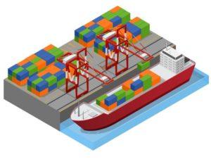 vue-isometrique-ville-portuaire-du-bateau-barge-chargement-du-concept-conteneurs-fret-couleur-transport-fret-illustration
