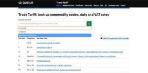 The UK-Tariff-search